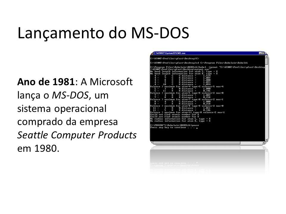 Lançamento do MS-DOS Ano de 1981: A Microsoft lança o MS-DOS, um sistema operacional comprado da empresa Seattle Computer Products em 1980.