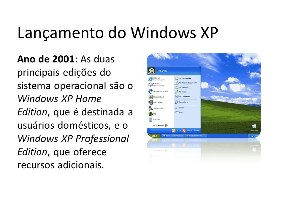 Lançamento do Windows XP