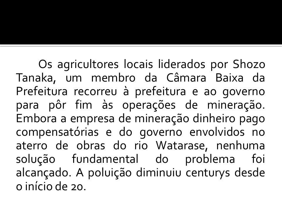 Os agricultores locais liderados por Shozo Tanaka, um membro da Câmara Baixa da Prefeitura recorreu à prefeitura e ao governo para pôr fim às operações de mineração.