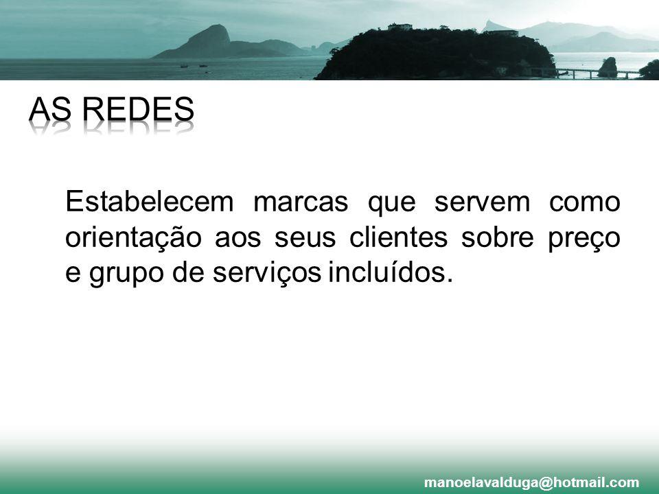 AS REDES Estabelecem marcas que servem como orientação aos seus clientes sobre preço e grupo de serviços incluídos.