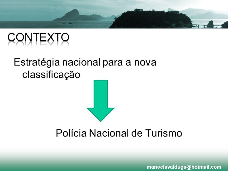 Contexto Estratégia nacional para a nova classificação Polícia Nacional de Turismo manoelavalduga@hotmail.com.