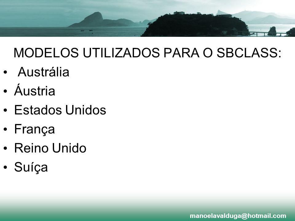 MODELOS UTILIZADOS PARA O SBCLASS: