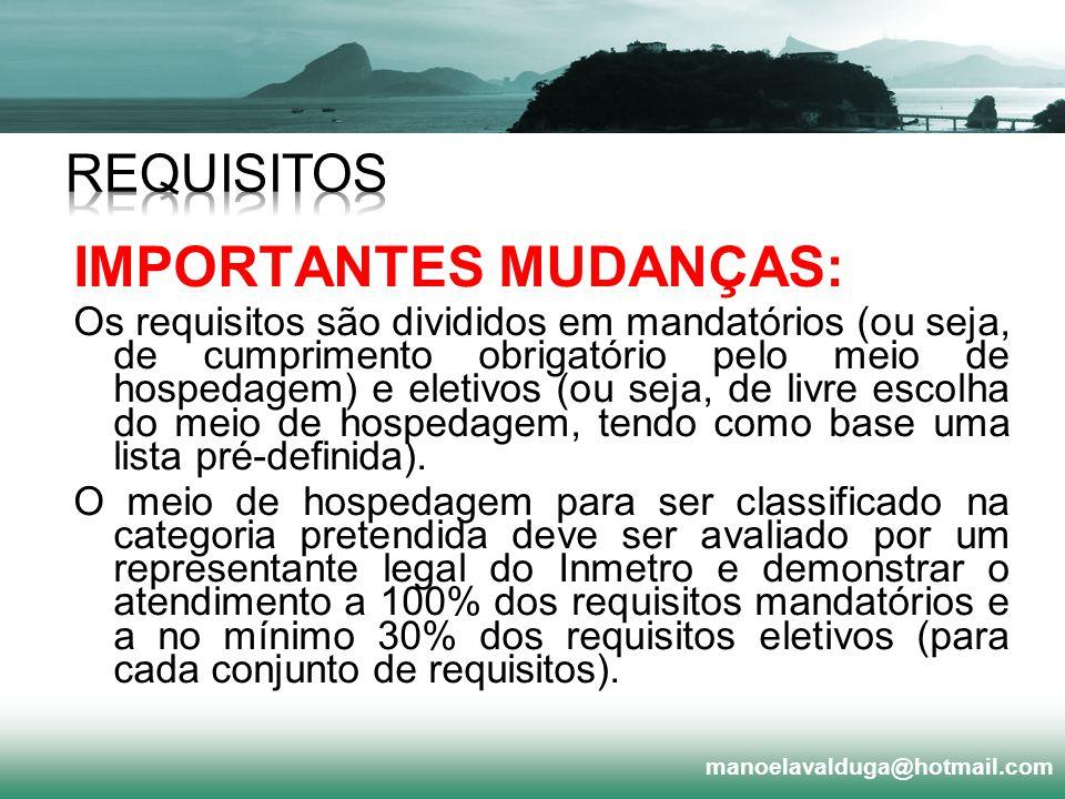 IMPORTANTES MUDANÇAS:
