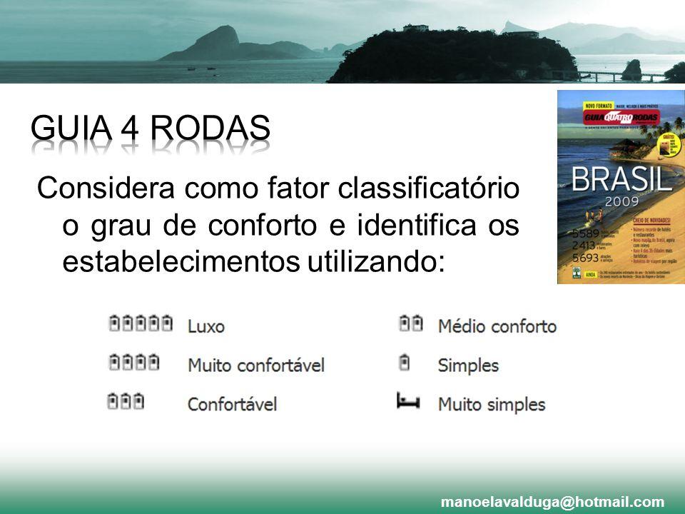 GUIA 4 RODAS Considera como fator classificatório o grau de conforto e identifica os estabelecimentos utilizando: