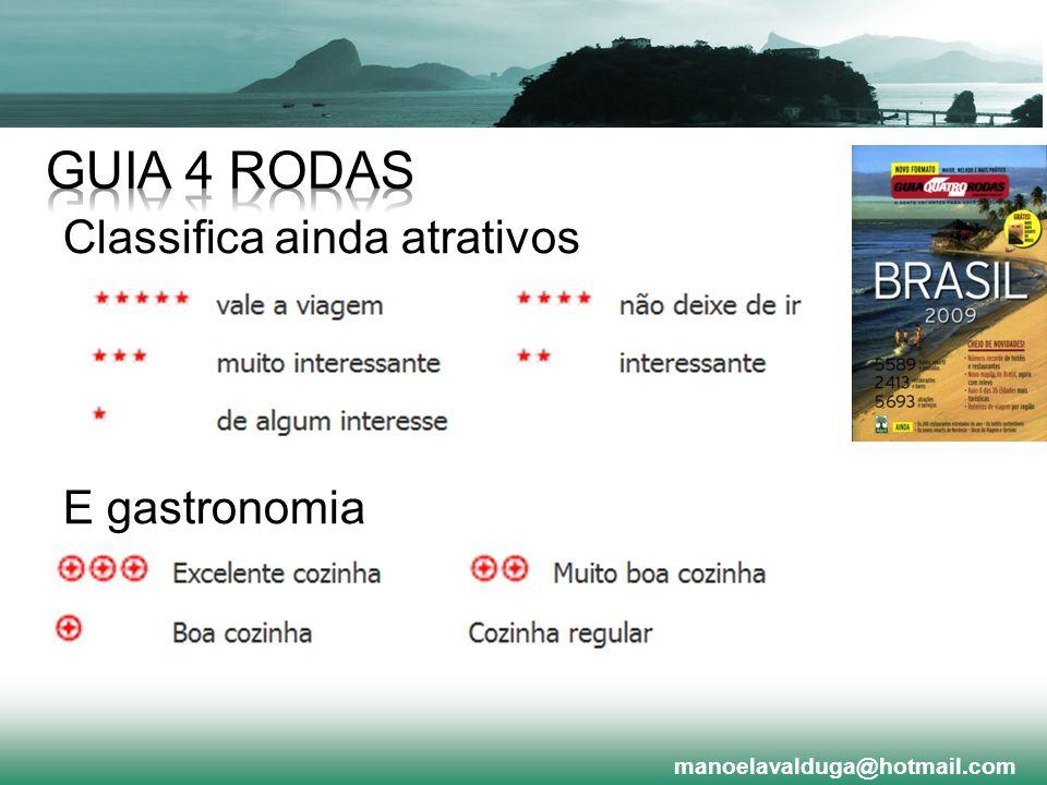 GUIA 4 RODAS Classifica ainda atrativos E gastronomia