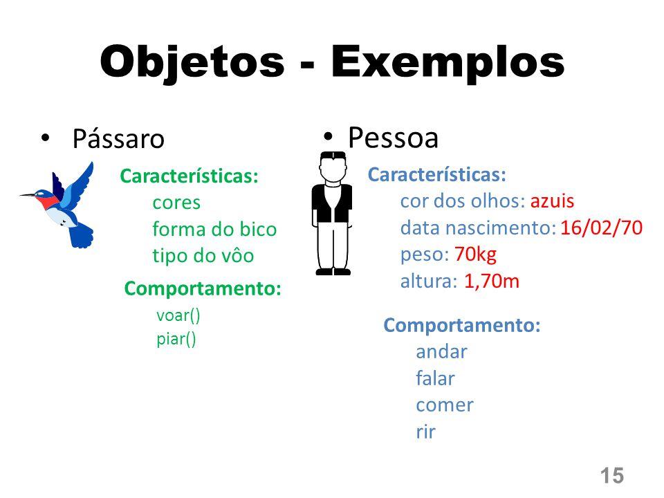 Objetos - Exemplos Pessoa Pássaro Características: Características: