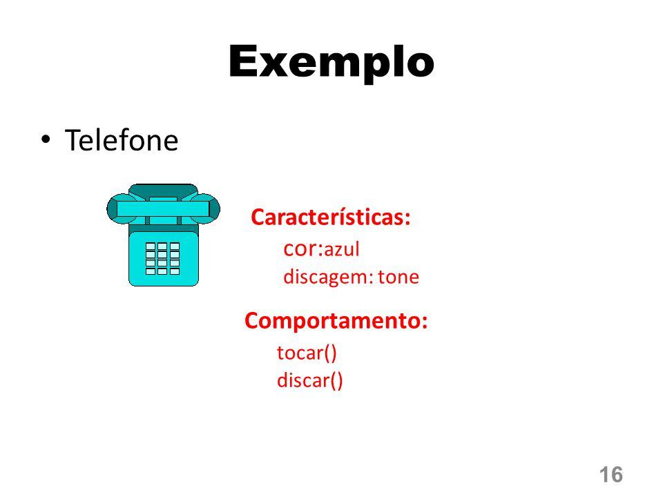 Exemplo Telefone Características: cor:azul Comportamento: tocar()