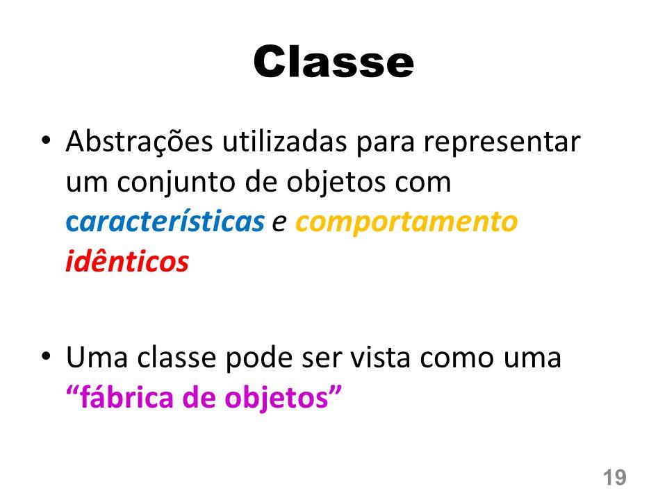 Classe Abstrações utilizadas para representar um conjunto de objetos com características e comportamento idênticos.