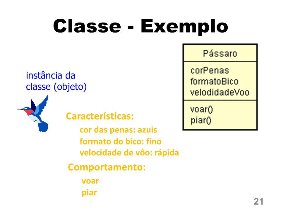 Classe - Exemplo Características: cor das penas: azuis Comportamento: