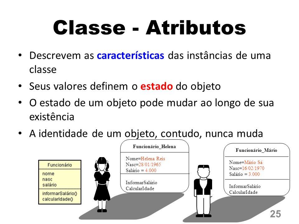 Classe - Atributos Descrevem as características das instâncias de uma classe. Seus valores definem o estado do objeto.