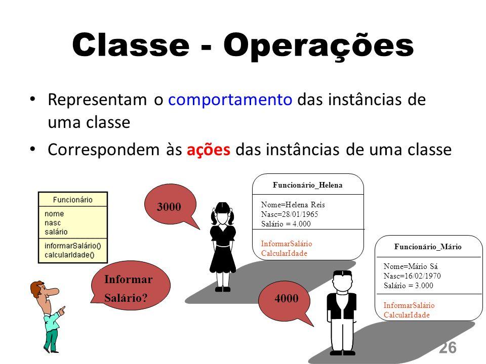 Classe - Operações Representam o comportamento das instâncias de uma classe. Correspondem às ações das instâncias de uma classe.