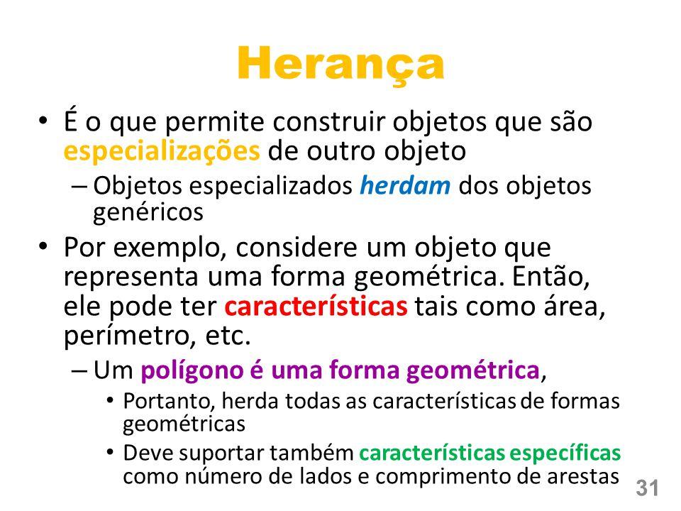 Herança É o que permite construir objetos que são especializações de outro objeto. Objetos especializados herdam dos objetos genéricos.