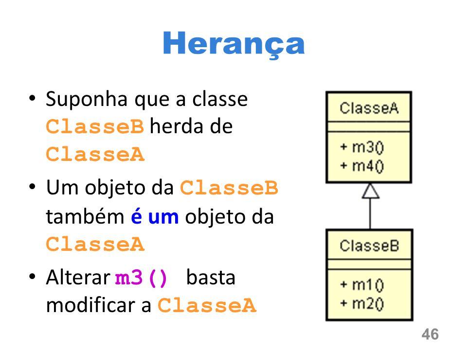 Herança Suponha que a classe ClasseB herda de ClasseA
