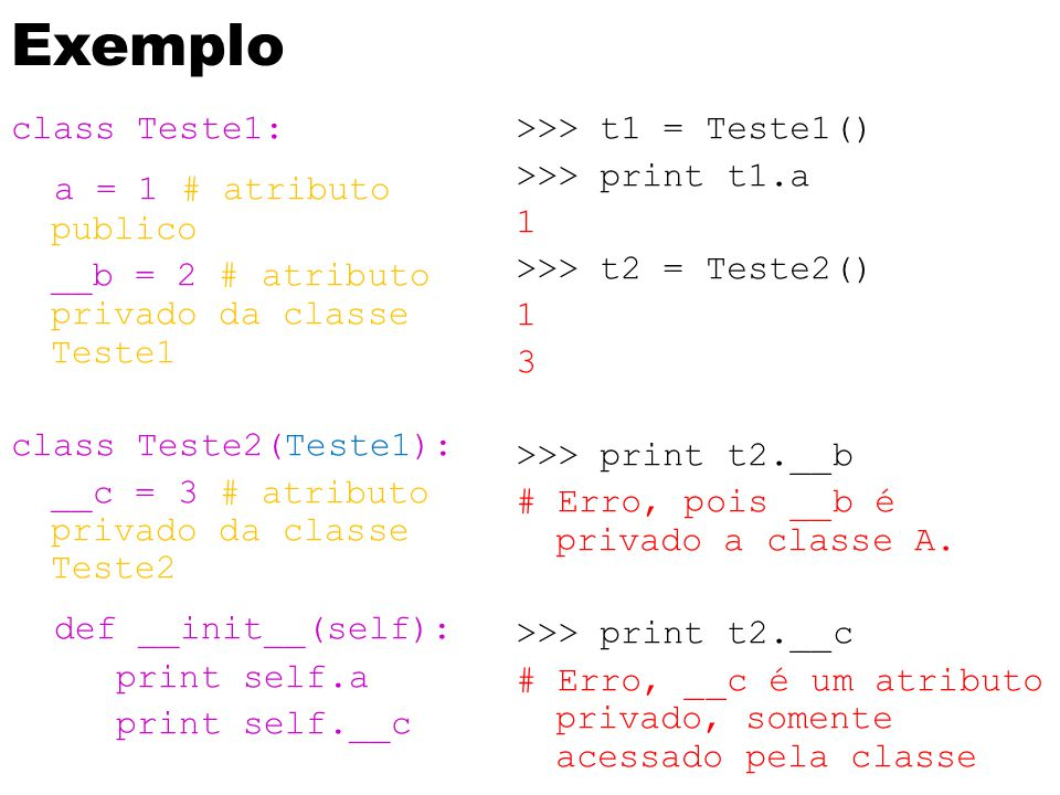 Exemplo a = 1 # atributo publico def __init__(self): class Teste1: