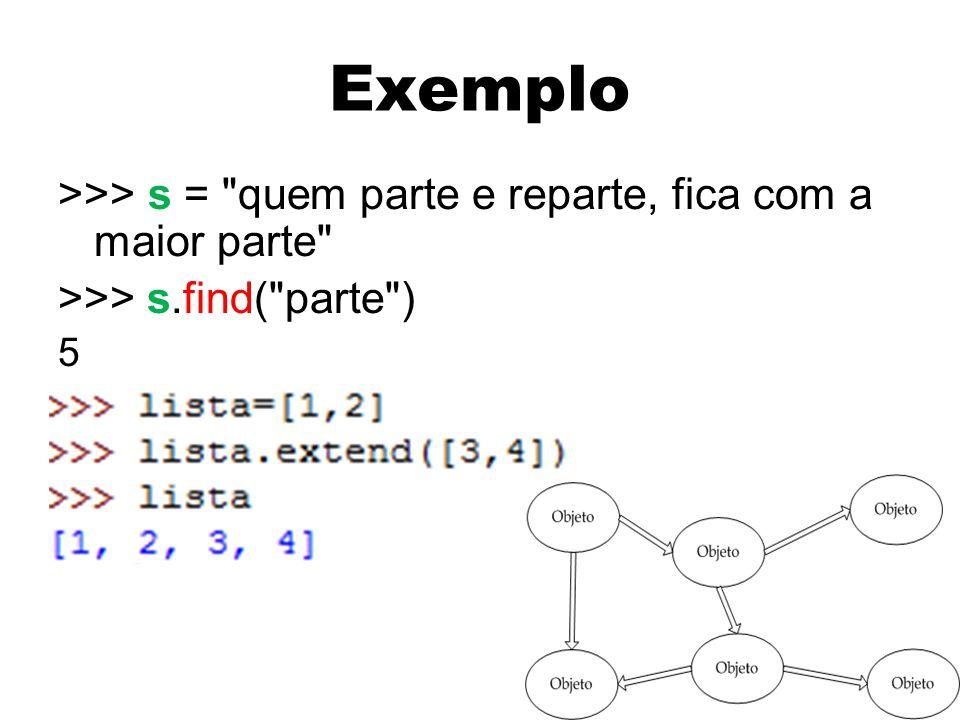 Exemplo >>> s = quem parte e reparte, fica com a maior parte >>> s.find( parte ) 5