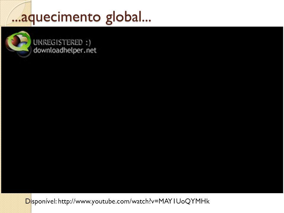 ...aquecimento global... Disponível: http://www.youtube.com/watch v=MAY1UoQYMHk