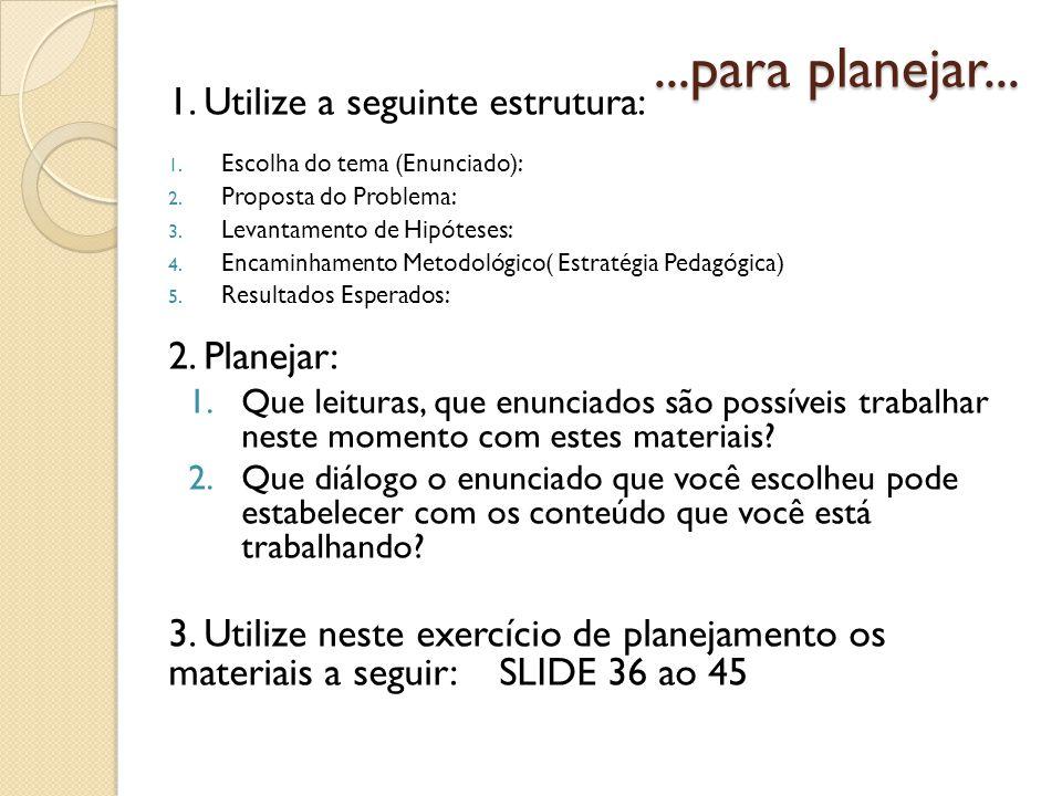 ...para planejar... 1. Utilize a seguinte estrutura: 2. Planejar: