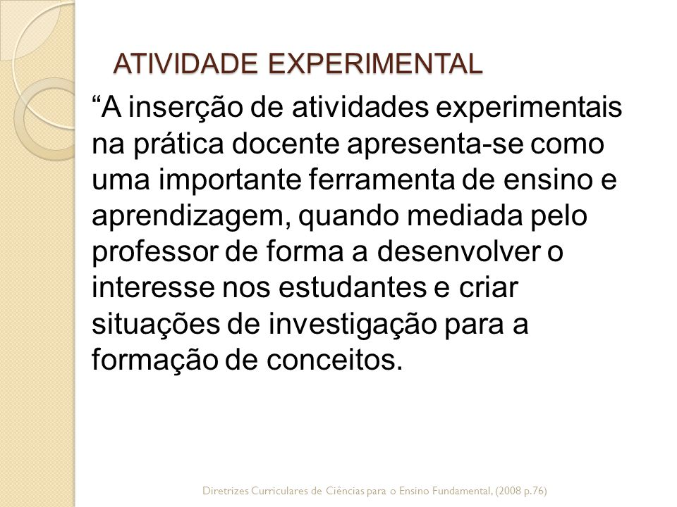 ATIVIDADE EXPERIMENTAL