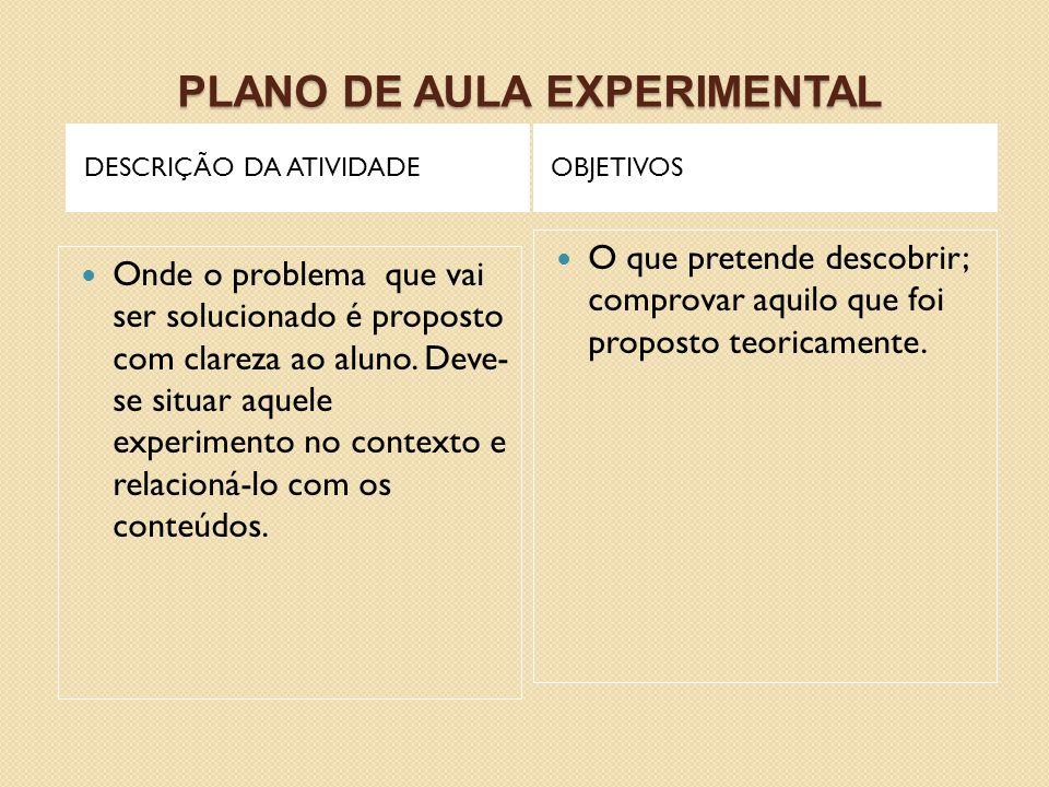 PLANO DE AULA EXPERIMENTAL