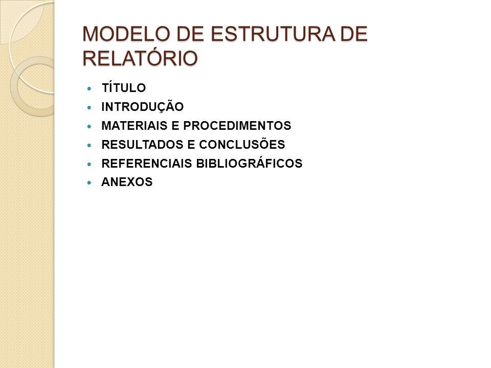 MODELO DE ESTRUTURA DE RELATÓRIO