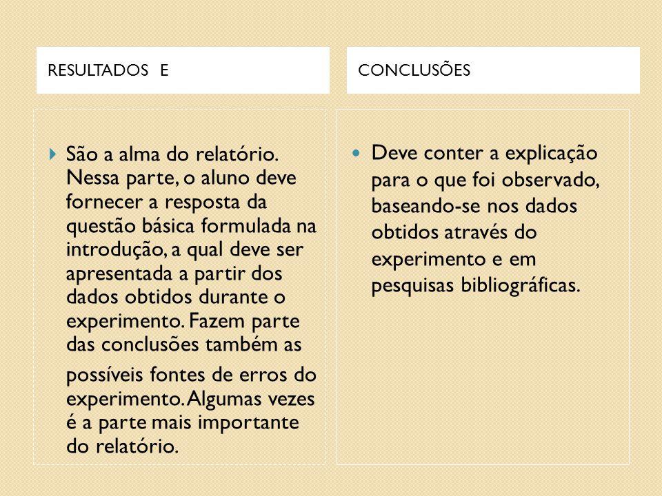 RESULTADOS E CONCLUSÕES.