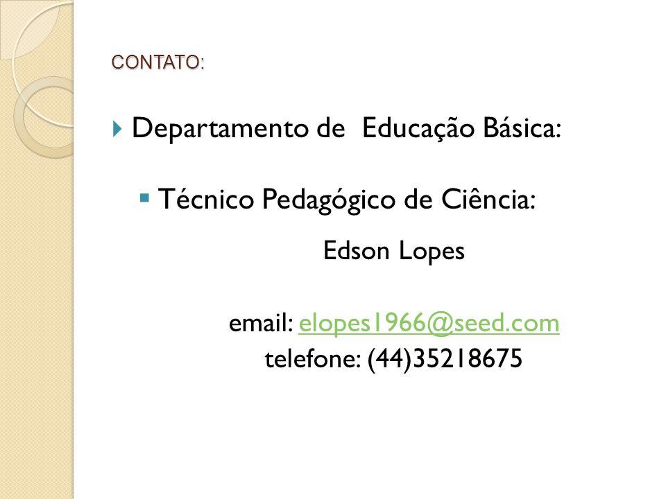 Departamento de Educação Básica: Técnico Pedagógico de Ciência: