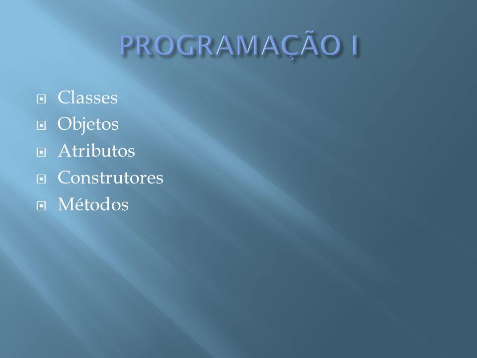PROGRAMAÇÃO I Classes Objetos Atributos Construtores Métodos