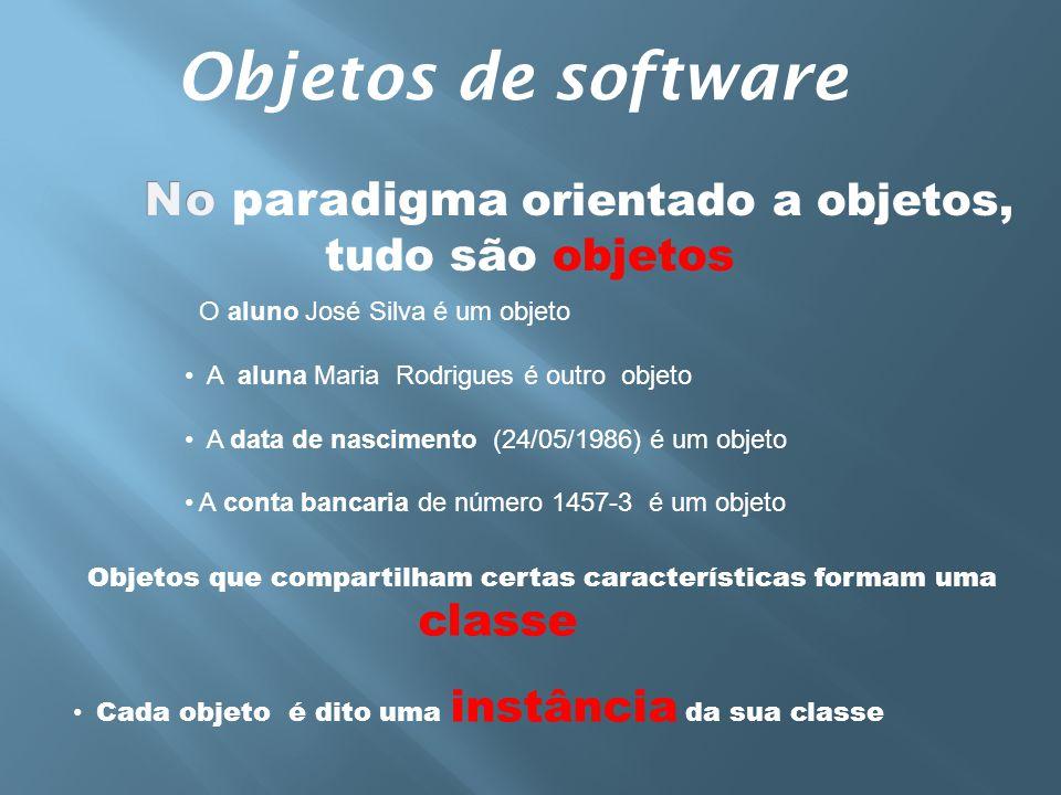 Objetos de software No paradigma orientado a objetos, tudo são objetos
