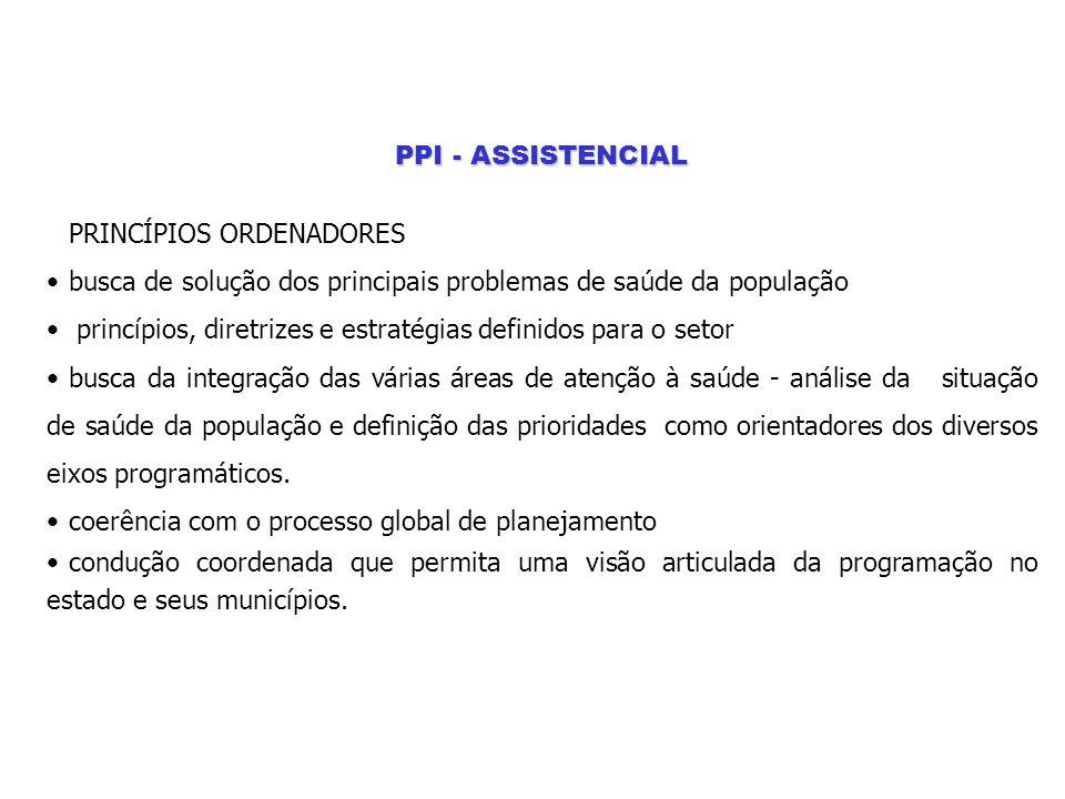 PPI - ASSISTENCIAL PRINCÍPIOS ORDENADORES. busca de solução dos principais problemas de saúde da população.