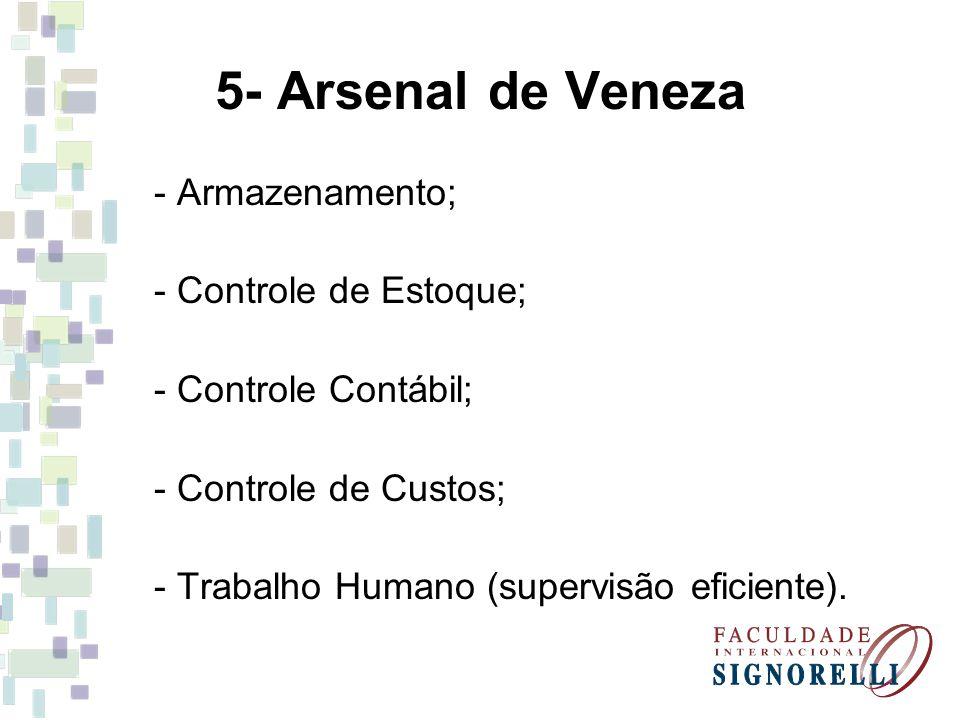 5- Arsenal de Veneza - Armazenamento; - Controle de Estoque;