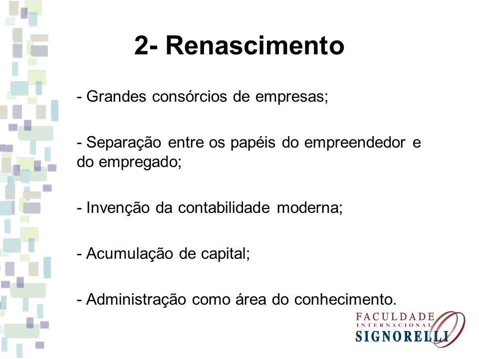 2- Renascimento - Grandes consórcios de empresas;