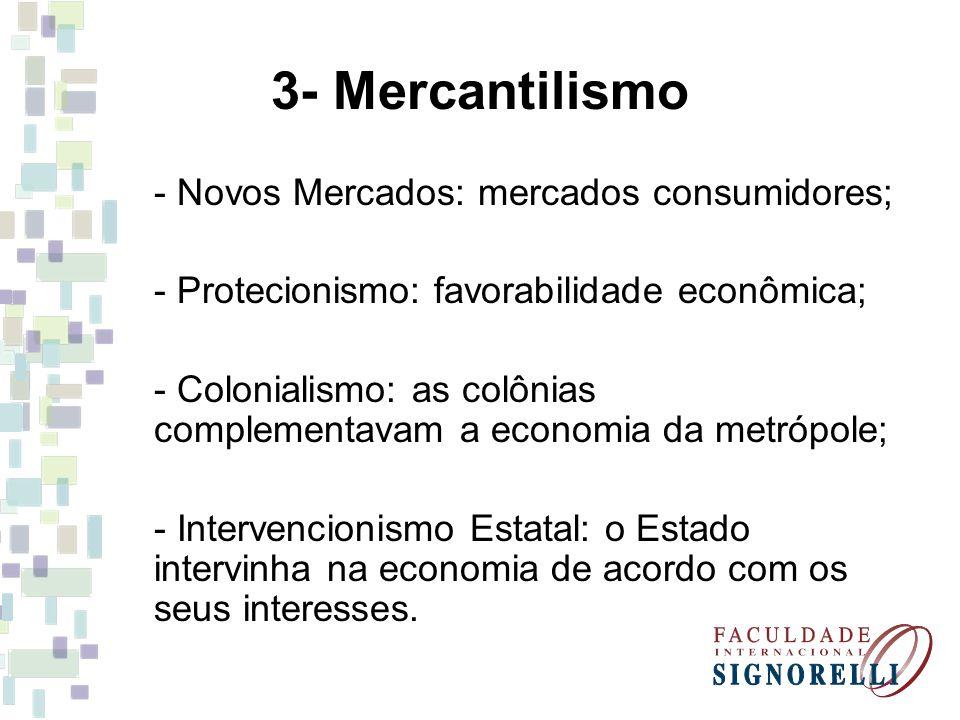 3- Mercantilismo - Novos Mercados: mercados consumidores;