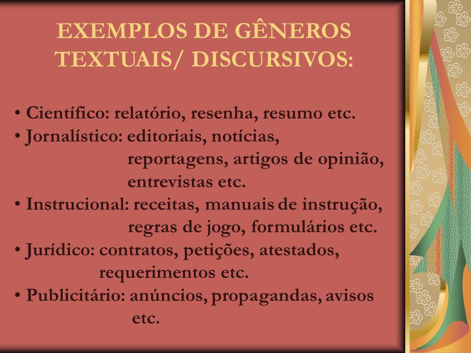 EXEMPLOS DE GÊNEROS TEXTUAIS/ DISCURSIVOS: