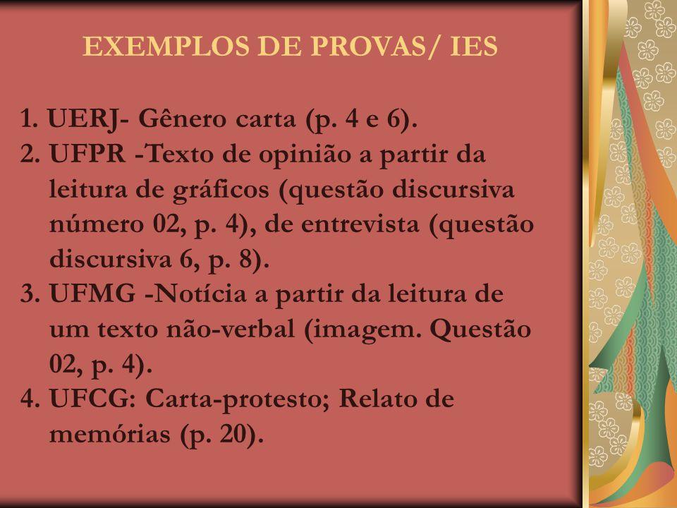 EXEMPLOS DE PROVAS/ IES