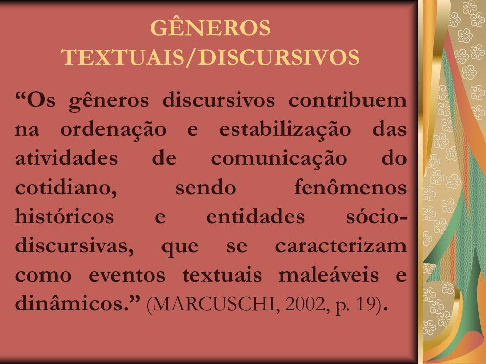 GÊNEROS TEXTUAIS/DISCURSIVOS
