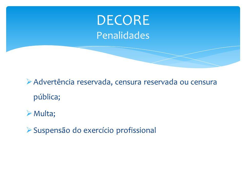 DECORE Penalidades Advertência reservada, censura reservada ou censura pública; Multa; Suspensão do exercício profissional.