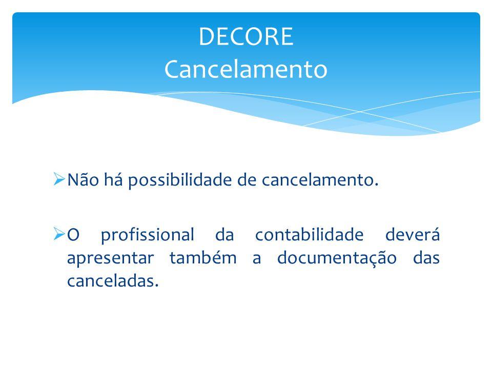 DECORE Cancelamento Não há possibilidade de cancelamento.