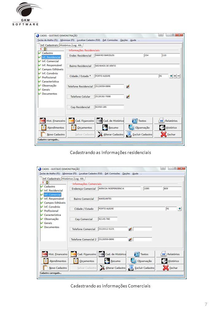 Cadastrando as informações residenciais