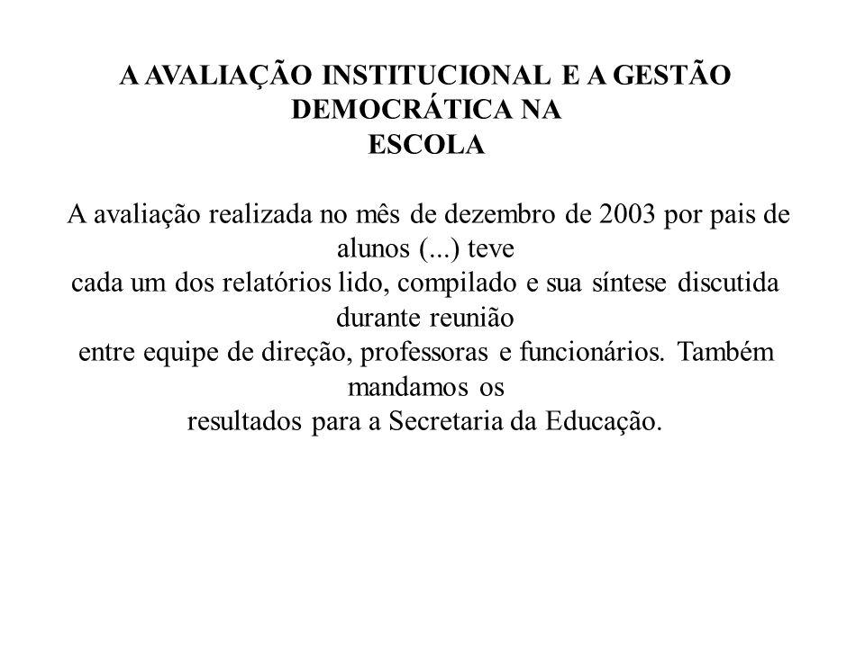 A AVALIAÇÃO INSTITUCIONAL E A GESTÃO DEMOCRÁTICA NA