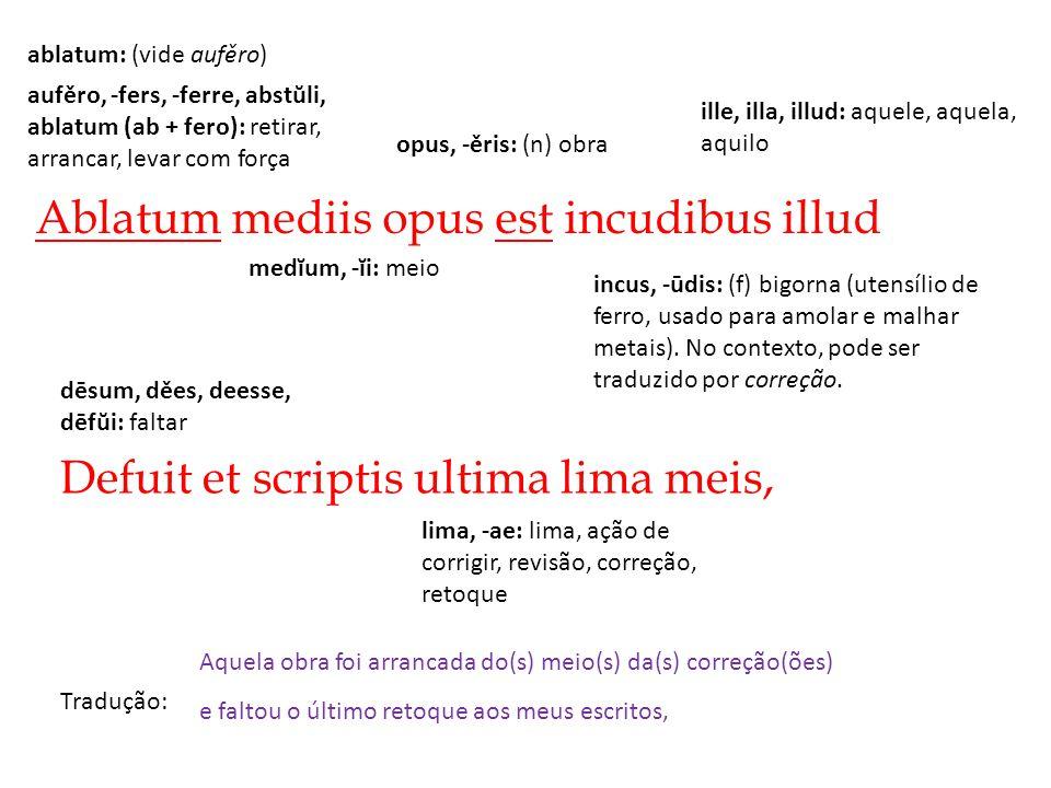 Ablatum mediis opus est incudibus illud