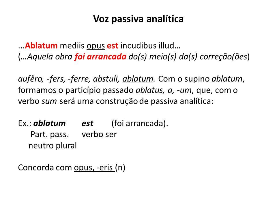 Voz passiva analítica ...Ablatum mediis opus est incudibus illud…