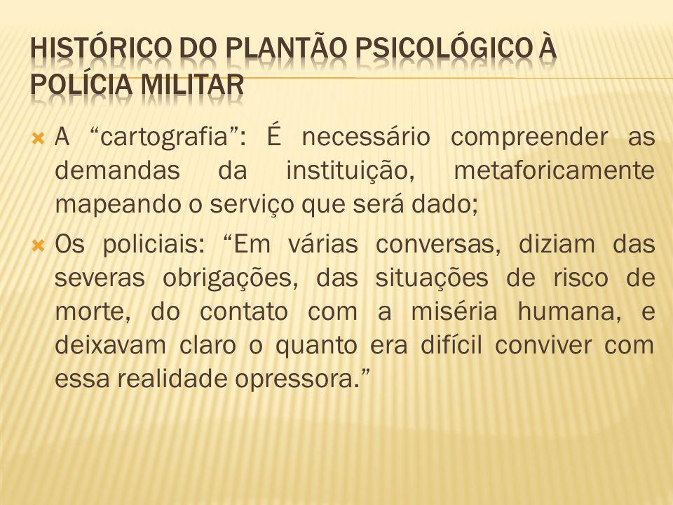 HISTÓRICO DO PLANTÃO PSICOLÓGICO À POLÍCIA MILITAR