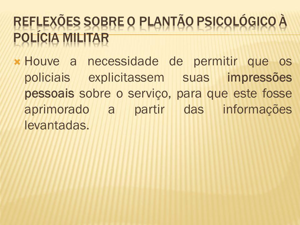REFLEXÕES SOBRE O PLANTÃO PSICOLÓGICO À POLÍCIA MILITAR