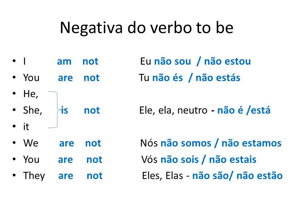 Negativa do verbo to be I am not Eu não sou / não estou