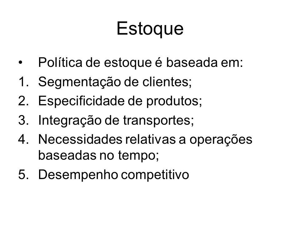 Estoque Política de estoque é baseada em: Segmentação de clientes;