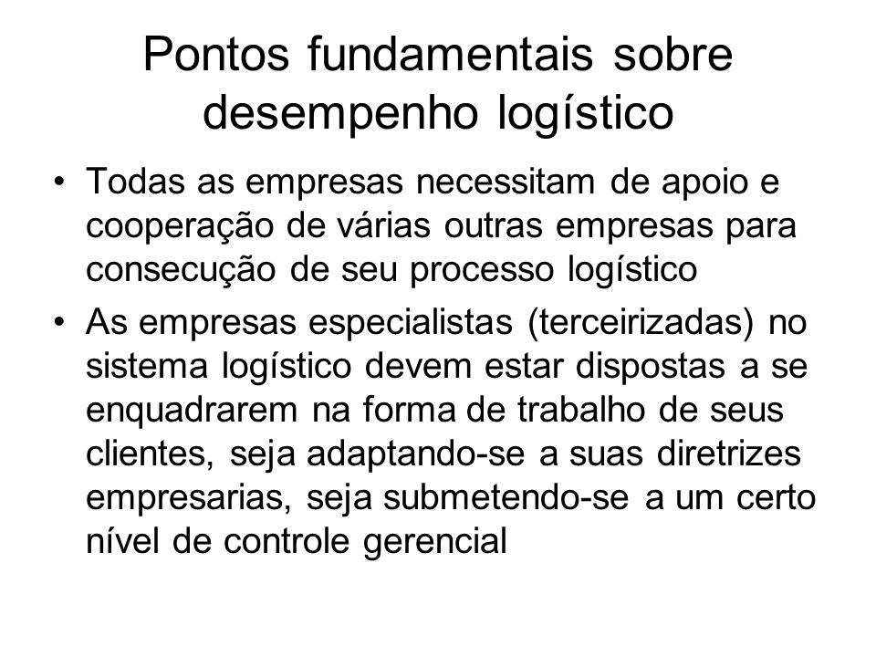 Pontos fundamentais sobre desempenho logístico