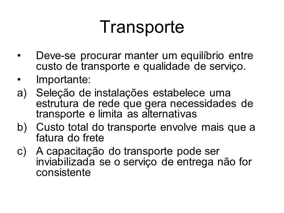 Transporte Deve-se procurar manter um equilíbrio entre custo de transporte e qualidade de serviço. Importante: