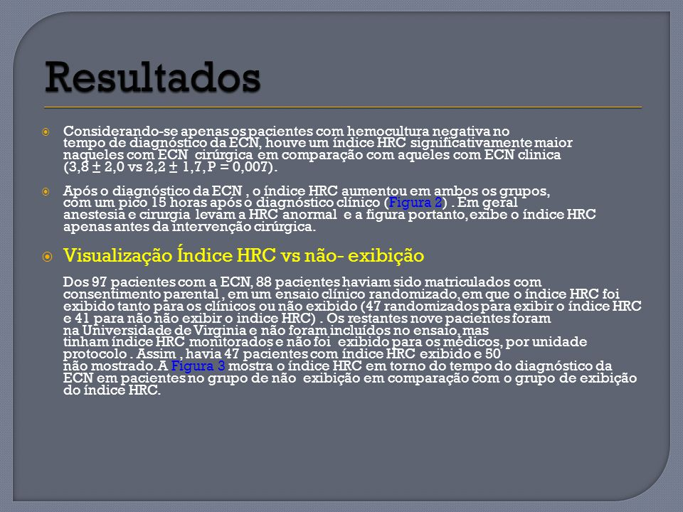 Resultados Visualização Índice HRC vs não- exibição