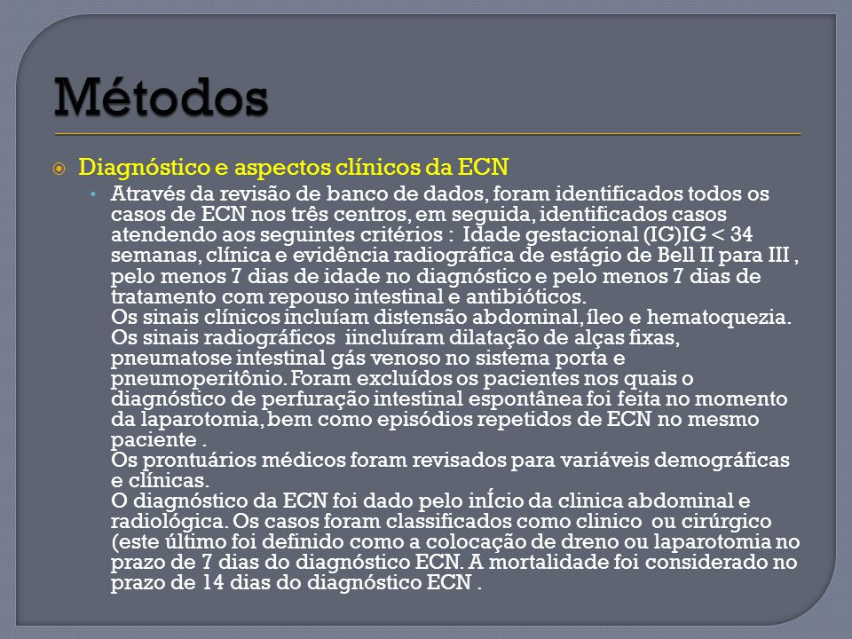 Métodos Diagnóstico e aspectos clínicos da ECN