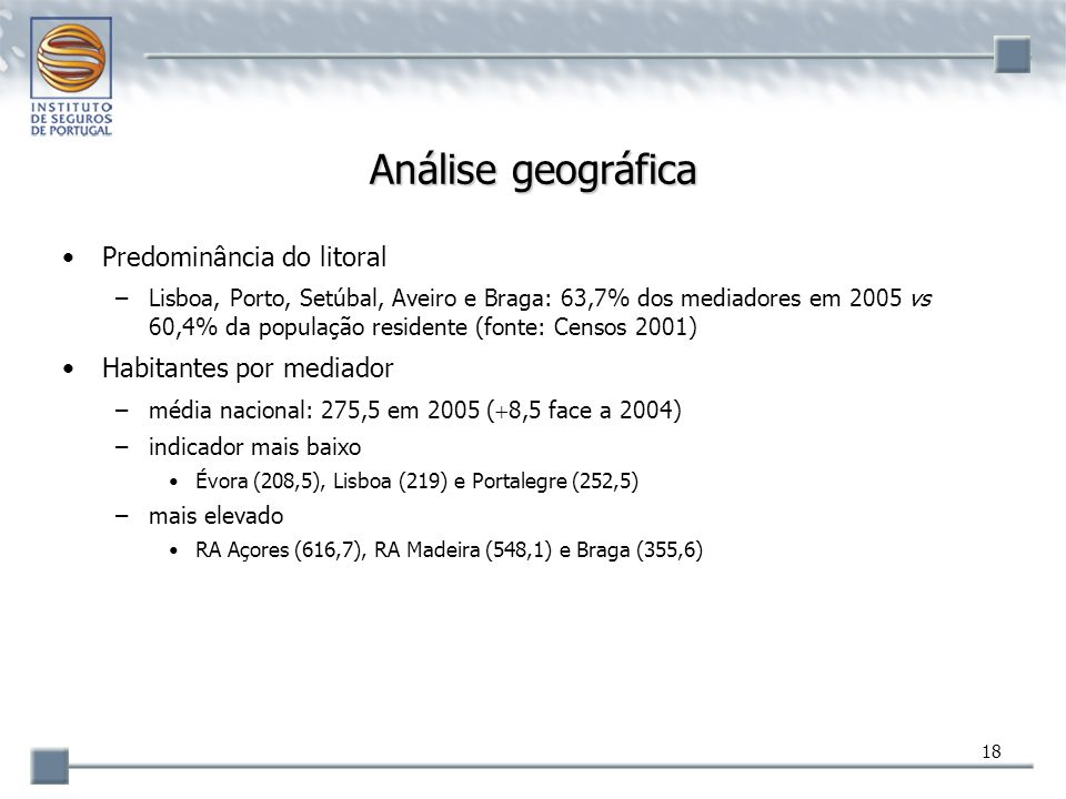 Análise geográfica Predominância do litoral Habitantes por mediador